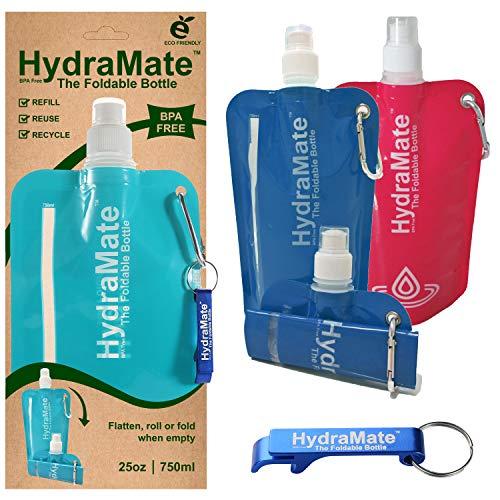 Faltbare, wiederverwendbare Wasserflasche. 750ml. Leichte, umweltfreundliche, nachfüllbare Flasche mit Sportverschluss, hygienischem Deckel. Karabiner und Flaschenöffner(Multi 3 Pack, 3 Pack x 750ml)