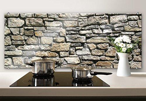 Spritzschutz Glasbild - Natursteinmauer - Panorama - mit abgerundeten Ecken - 100x40 cm mit Klemmbefestigungen - SP21072 - Wall-Art