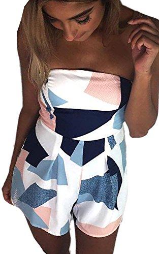 Minetom Damen Sommer Sexy Schulterfrei Hohe Taill Zwei Taschen Kurz Strand Blumenmuster Trägerlos Overall Spielanzug Einteiler Jumpsuit Weiß B DE 40 (Jeans Front-pocket)