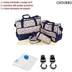 CITTATREND-Bolso Cambiador 17,80 x8,30 x13,90 Pulgada Lote de 8 Todo en Uno Bolsa Maternidad, de Lunar Azúl