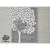 70x50 cm, Gästebuch, Hochzeitsbaum, Wedding Tree, Rustikales Gästebuch, Leinwanddruck - Baum, Leinwand, Keilrahmen und Holz Motiv - Holzoptik