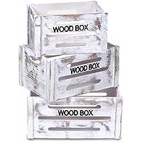 ts-ideen juego set de 3 Containers estantería cómoda caja cofre de madera estilo shabby blanco - Muebles de Dormitorio precios