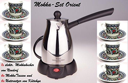 Mokka Set ORIENT/ 1x elektr. Mokkakocher von NEUDORF (800 Watt - Edelstahl poliert - 300 ML - )...
