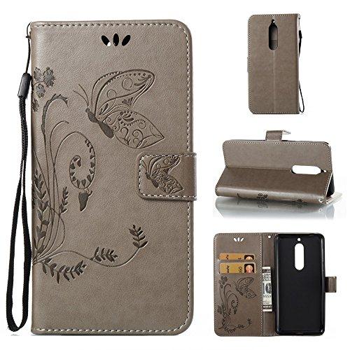 Solid Color Faux Leder Bookstyle Brieftasche Stand Case mit geprägten Blumen & Lanyard & Card Slots für Nokia 5 (N5) ( Color : Brown ) Gray