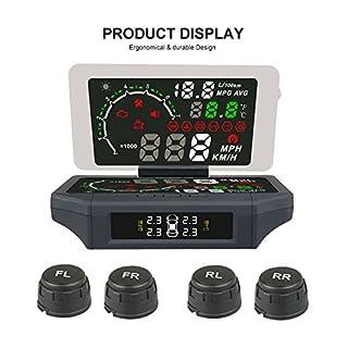 autool X36014,7cm Auto HUD Head Up Display Reflektierende Film Multifunktions-Auto OBD Smart Digital Messgerät und Alarm Fahrzeuggeschwindigkeit, Motordrehzahl, Wassertemperatur, Spannung, etc. Up Display