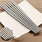 5pair/Pack Food Grade top 304 Stainless Steel Chopsticks Tableware Anti-Skid Korean Household Metal Square Chopsticks Cutlery