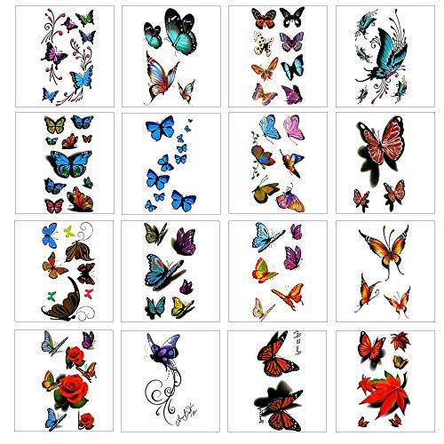 16 fogli colorati 3d adesivi tatuaggio temporaneo con farfalla flower design e premium impermeabile, non tossici adesivi tatuaggio dipinte a corpo art decal rimovibile.
