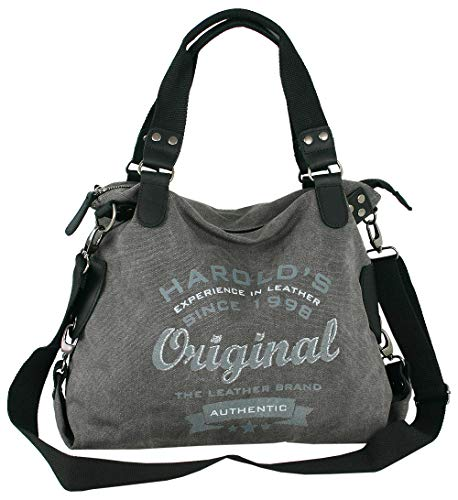 HAROLD'S Große Canvas Damen Umhängetasche mit Leder-Besatz - auch als Schultertasche oder crossover tragbar - Farbe grau -