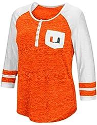 "Miami Hurricanes NCAA Women's ""Inconceivable"" 3/4 Sleeve Henley Shirt Chemise"
