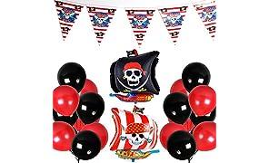 PuTwo Noir Rouge Ballon 43pcs 12 Pouces Ballon Helium Noir Ballons Rouges Ballon Baudruche d'Aluminium Rouge Noir Baudruche pour la Fête à Thème de Pirate l'Anniversaire de Garçons inclut Bannière
