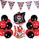 PuTwo Luftballons Schwarz Rot 43 Stück Luftballons Rot Luftballons Schwarz Latexballons Folienballon Banner für Pirat Party Pirates of The Caribbean Party Junge Geburtstag Kinder Party - Schwarz, Rot