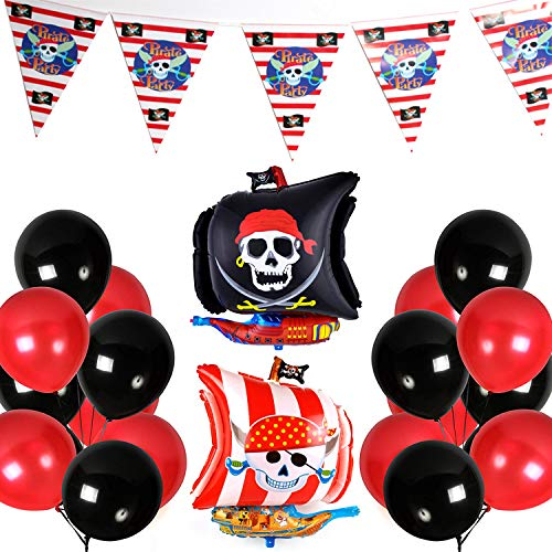 hwarz Rot 43 Stück Luftballons Rot Luftballons Schwarz Latexballons Folienballon Banner für Pirat Party Pirates of The Caribbean Party Junge Geburtstag Kinder Party - Schwarz, Rot ()