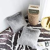 DQMEN 2Pcs Weicher Dekokissen 45 x 45 cm grau Langhaar Zierkissen dekoratives Fellimitat Sofakissen Kunstfell Kissen (2Pcs Grau, 45 x 45cm)