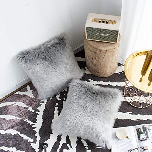 DQMEN 2Pcs Funda Cojines, Funda Almohada de Suave Piel sintética de Lana, Cojín Cubierta Tiro Funda de Almohada Sofá Decoración 45cm x 45cm (2Pcs Gris, 45 x 45cm)