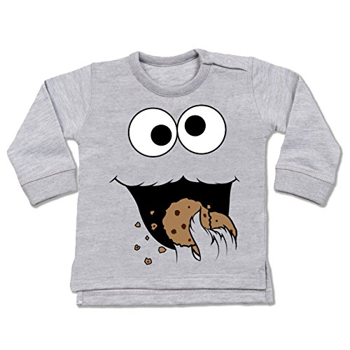 Shirtracer Karneval und Fasching Baby - Keks-Monster - 12-18 Monate - Grau meliert - BZ31 - Baby Pullover