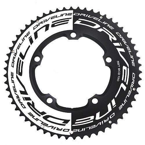 Driveline AL7075 Rennrad TT Kettenblatt 58T, BCD 130mm, schwarz x weiß #ST1554