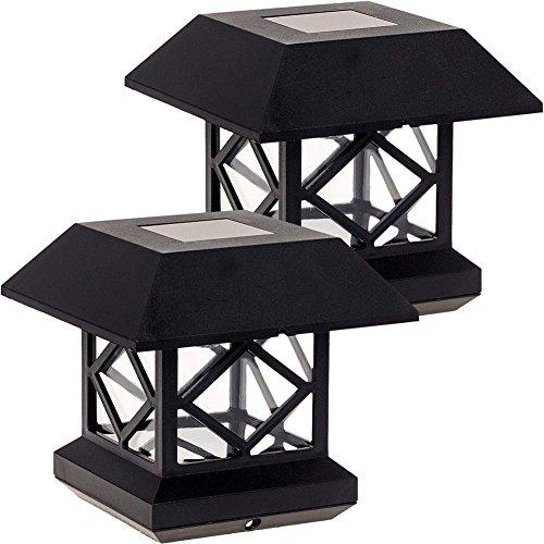 SUNSETGLOW Solar Post Lichter, Outdoor Post Cap Light für Zaun Deck Terrasse Auto Turn On/Off solarbetrieben Kappen LED-Beleuchtung für 4 x 4 Holz-Pfosten weiß