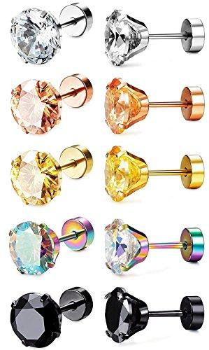 Sailimue 5 Paare Edelstahl Damen Ohrstecker für Mädchen Frauen Ohrringe Knorpel Tragus Helix Piercing Ohr 18G 4MM (Piercing Ohrringe 1mm)