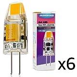 JAUHOFOGEI 6pz Lampadina LED COB G4 da 1W (Equivalenti a 10W Alogena), 12V DC/AC, Luce Bianco Caldo 2800K, Ra80, LED Faretto