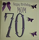 Happy Birthday Card - Happy 70th Birthday Mum In Purple - Handmade Card