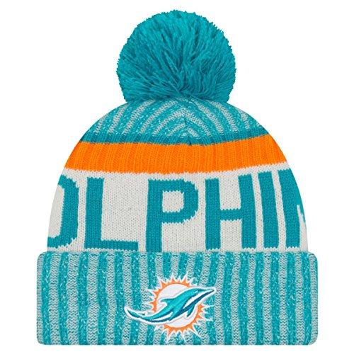 New Era Herren-NFL-Sideline-Beanie, Bommelstrick, Miami Dolphins-Beanie, blau, Einheitsgröße
