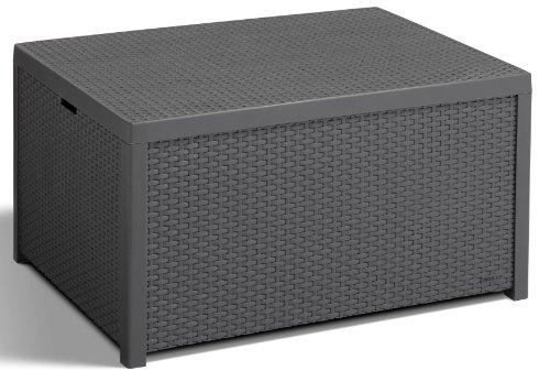 Allibert 220002 Monaco Table lounge/coffre à coussins en plastique effet rotin Gris
