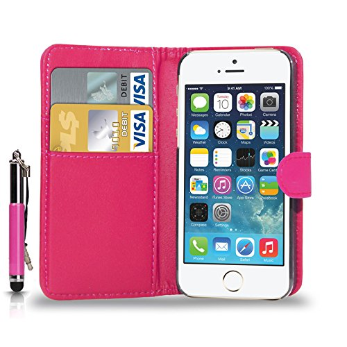 APPLE iPHONE SE - Schlag-Leder-Mappen-Kasten-Abdeckungs-Beutel + Retractable Touch-Stift + Screen Protector & Poliertuch ( Hot Pink ) Hot Pink