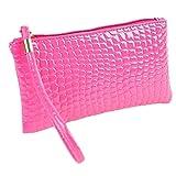 ZARU Frauen-Krokodil-Leder-Kupplungs-Handtasche, Münzen-Geldbeutel (Hot Pink)