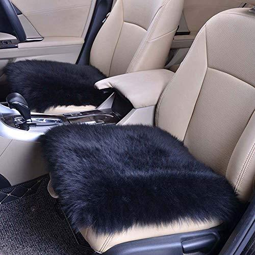 Homeng 45,7 x 45,7 cm quadratisch ohne Rückenlehne, luxuriöses Autositz-Kissen für Auto, SUV, LKW, Bürostuhl, Schwarz, 18X18inch -