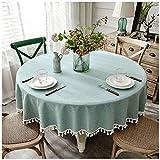 Tablecloth Hoteltischdecke rund frisch grün aus Baumwolle und Leinen, 140 cm