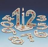 Geburtstag-Deko Zahl 6 Tischdeko Weiss-grün-rot 6x9cm Einheitsgröße