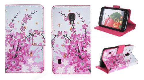 Kit Me Out PU-Kunstleder Bedrucktes Flip Case für LG Optimus L7 2 P710 - Weiß / Rosa Blüten