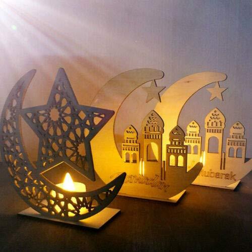 Ramadhan Kareem Islam DIY Dessertschale Spiegel Home Festival Party Festival Favor Tableware Tray Display Wood für Wohnzimmer Zuhause Inneneinrichtungen Geschenk Schlafzimmer Ramadhan Kareem Islam (B) Display-trays