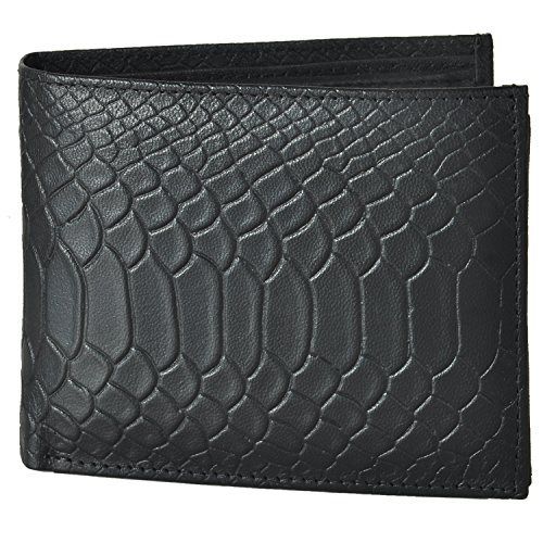 AzraJamil Anaconda Snake Emboss Bi-Fold Genuine Leather Wallet (Passport Wallet Tumi)