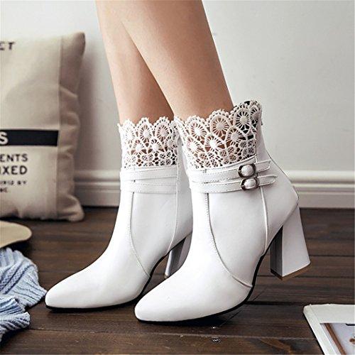 ZQ@QX Tipp der Woche für den rauen wie Spitze und vielseitige Reißverschluss hinten high-heel Schuhe, Stiefel Frauen Stiefel, Weiß 49