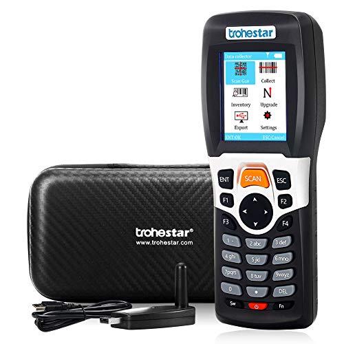 Kabellos Barcode Scanner für Inventur, Trohestar Inventur Scanner, 1D Handheld Laser Barcode Leser, mit 2,4G RF Empfänger erreichen 50-200m, 4 MB Speicher, für Lager Supermärkte Geschäfte