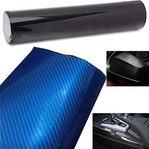 Liuer Autofolie Carbon Folie Aufkleber KFZ LKW Schwarz 6D Carbon Folie Vinyl selbstklebend flexibel Car Wrapping Folie Hochglanz Blasenfrei mit Luftkanälen(152cm x 20 cm)