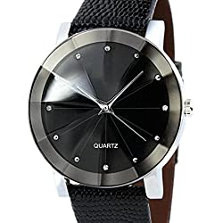 Men Wrist Watch - Kingwo Luxury Quartz Sport Military Stainless Steel Dial Leather Band Wrist Watch Men(Black)