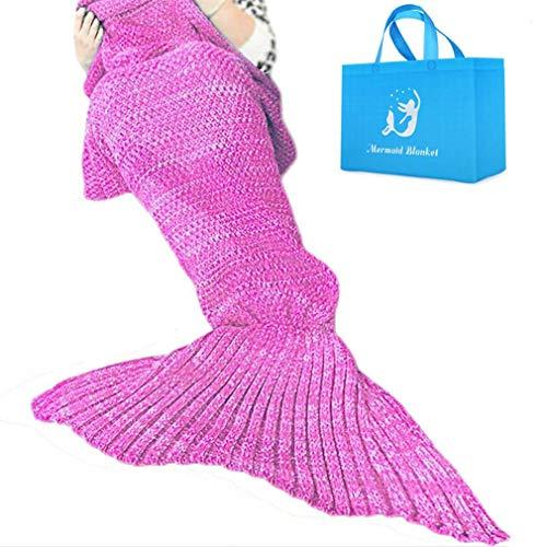 AM SeaBlue Mermaid Tail Blanket Adult Handmade Crochet Mermaid Blanket All Seasons Warm Soft Living Room Quilt Sleeping Bag Best Birthday Christmas Gift For Girl Women Wife Kids
