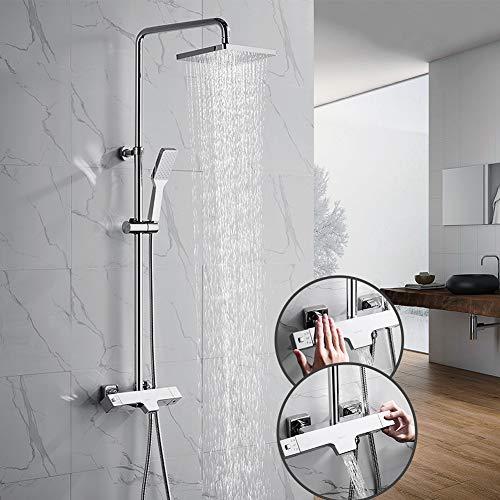 OLEAH Thermostat Duschsystem Chrom Duschpaneel Duscharmatur 3-Function mit Überkopfbrause Handbrause Regenbrause für Bad