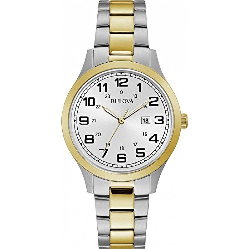 Bulova Women's Dress 34mm Two Tone Steel Bracelet Quartz Analog Watch 98M128