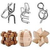 Knobelspiele, LoKauf 6St. 3D Metall Puzzle Holz Geduldspiele Logikspiele IQ Puzzle Knifflige Spiele Adventskalender Inhalt Knobelspiele für Kinder und Erwachsene