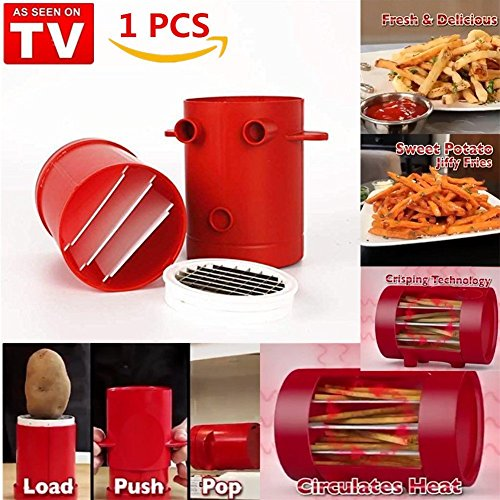 GESUNDHOME Jiffy Fries Potatoes Maker, 2-in-1 French Fries Maker [No Deep-Fry] Potato Slicers French Fries Cutter Machine & Microwave Container - To Make Healthy Fries