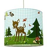 anna wand Lampenschirm REHNATE & FRIENDS BLAU - Schirm für Kinder/Baby Lampe mit Rehkitzen und Waldtieren – Sanftes Licht für Tisch-, Steh- & Hängelampe im Kinderzimmer Mädchen & Junge