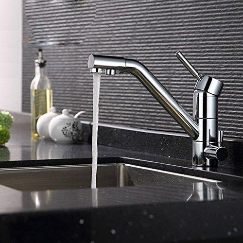 OUKANING Küche Mischbatterie Drei-Wege-Wasserhahn 3 in 1 Armatur Osmose Anlage montiert Water Luftreiniger Wasserhahn