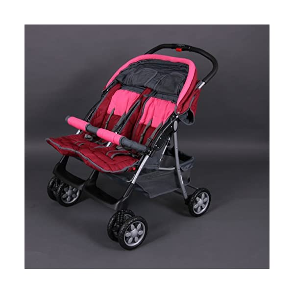 Deluxe Tandem - Twin Pram rose - BambinoWorld Bambino World Ideal pram for parents of twins or children with small difference in age.Thus you remain mobile also with 2 babies or infants. Main features: Very compact and light ; Adjustable backrest ; Foot rests adjustable ; Easy folding . 100% safety for your child : 5-point safety harness ; Brake on rear wheels ; Lockable swivel front wheels ; Complies with strict European norms . 3