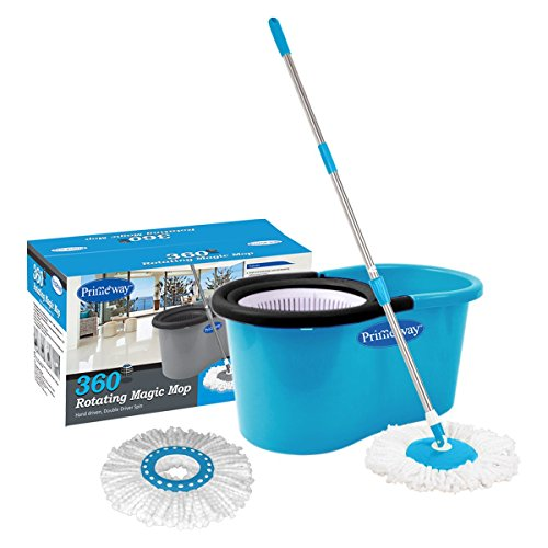 Primeway Pw266Me Double Driver Economy 360 Rotating Magic Mop and Bucket with 2 Microfibre Mop Heads (Blue)
