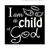 Norma Lily Ich bin ein Kind von Gott, mit Engel Flügel Holz Zeichen Handgemalt 40,6x 40,6cm Schild.