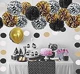 Geburtstag Party Dekoration, Girlande mit Seidenpapier Pompoms und Luftballons für Mädchen und Jungen Jeden Alters - Schwarz, Gold und Silber - 3