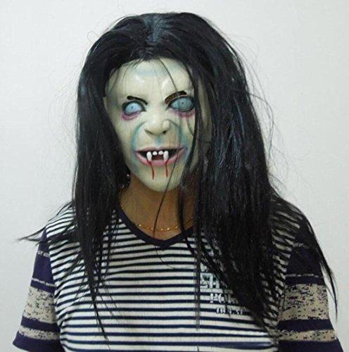 JJH-ENTER Maske Halloween Weihnachten Terror Der Groll Sadako Maske Schwarzes Haar Hexe Emulsion (Schwarze Latex Maske Teufel Halb)